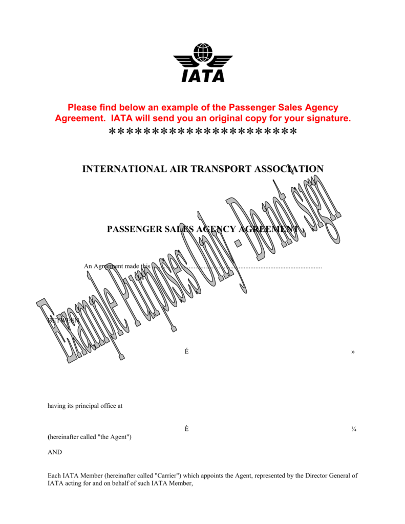 Passenger Salles Agency Agreement