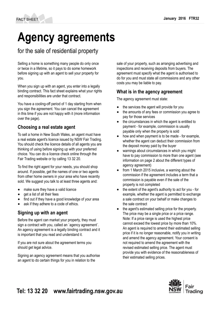 Agency Agreement Fact Sheet Choice Image Agreement Letter Format