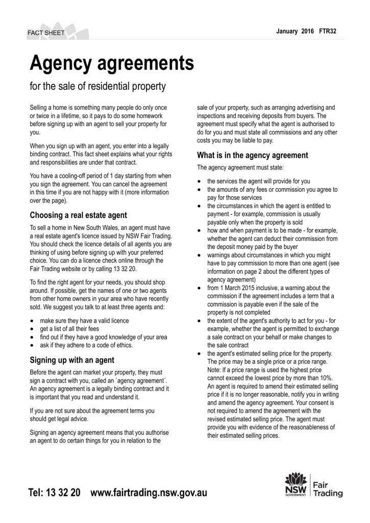 Agency agreements nsw fair trading platinumwayz