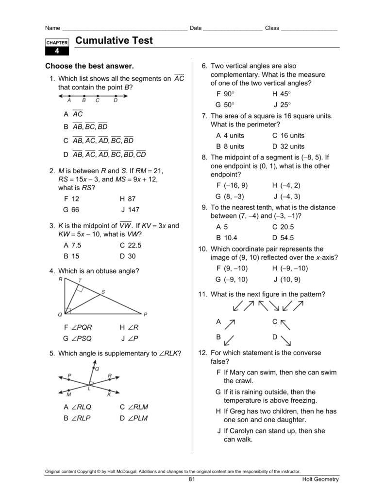 Bestseller: Holt Geometry Chapter 5 Test Answer Key
