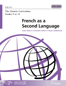 The Ontario Curriculum, Grades 9 to 12: French as a Second