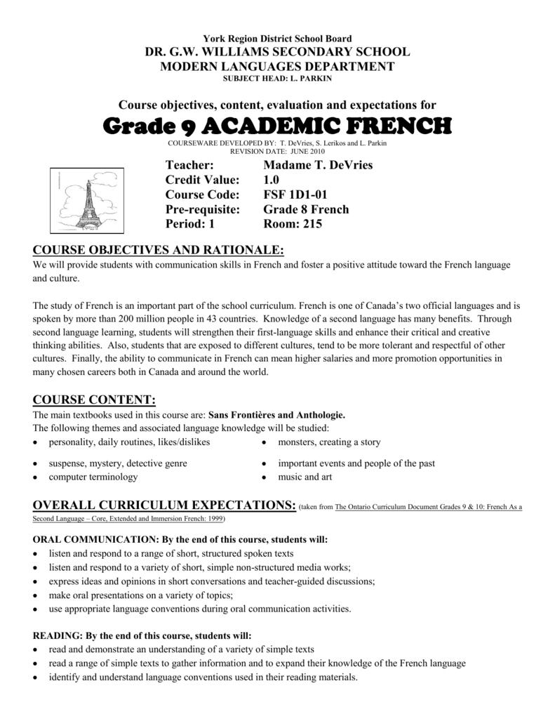 Grade 9 ACADEMIC FRENCH - York Region District School Board