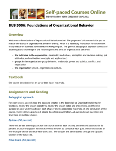 BUS 5006: Foundations of Organizational Behavior