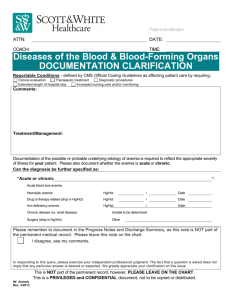 Diseases of the Blood & Blood-Forming Organs DOCUMENTATION