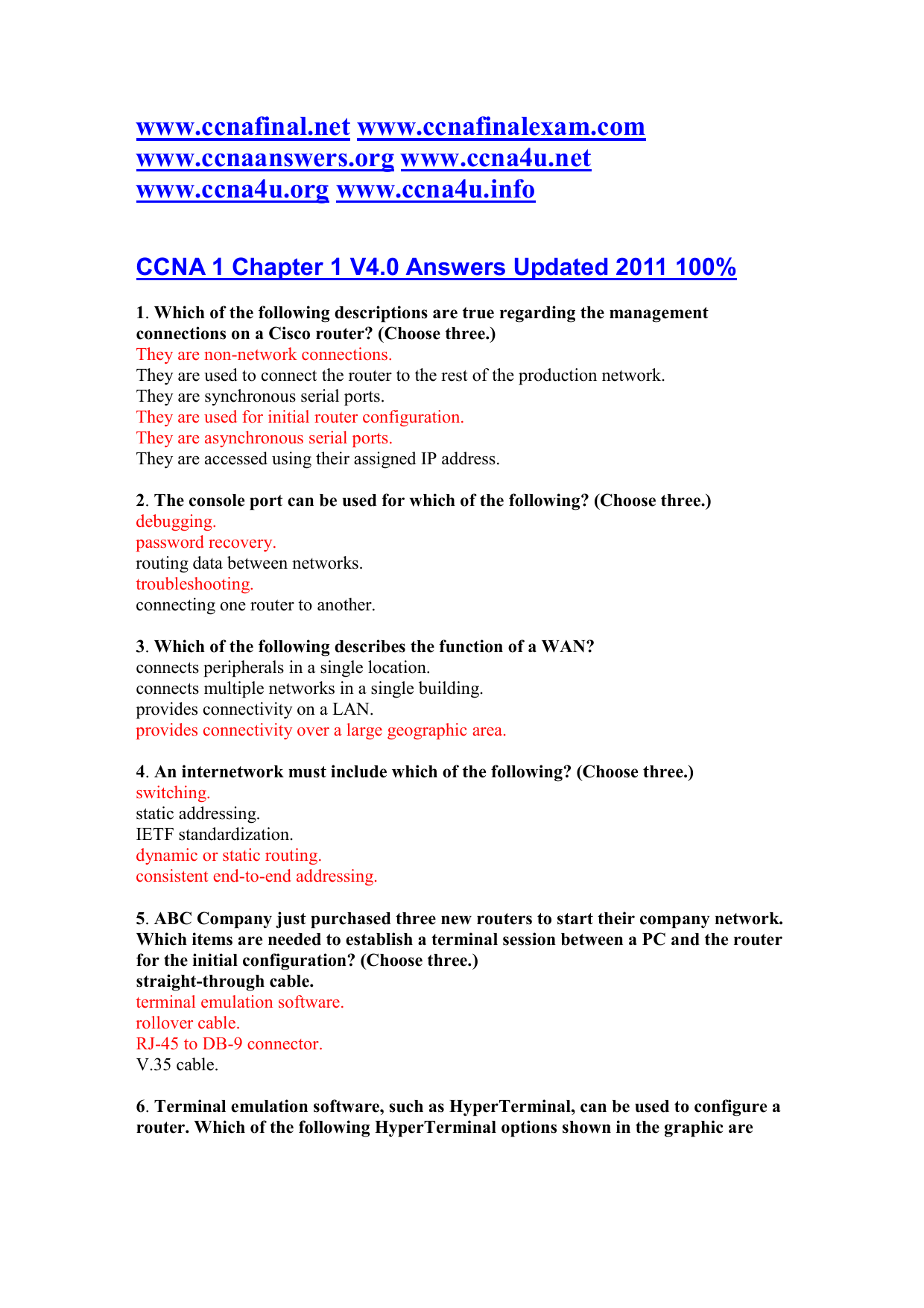 CCNA 1 Chapter 1 V4 0 Answers Updated 2011 100%