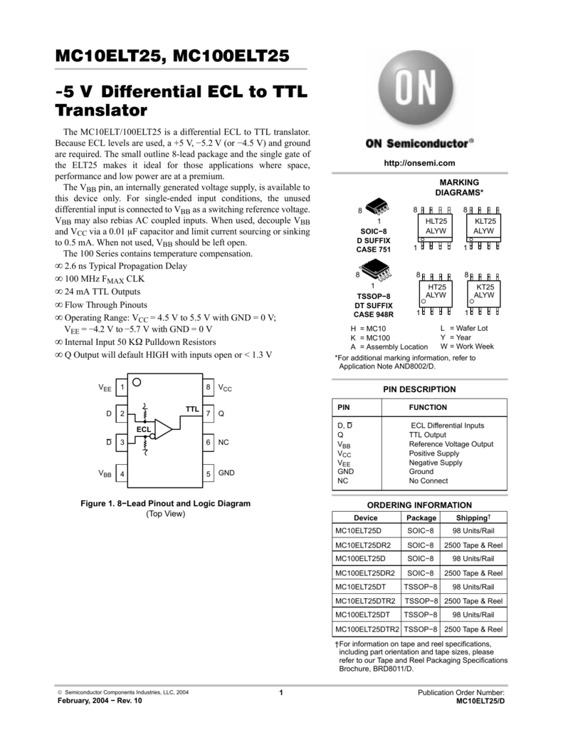 On Semiconductor Mc10elt25d Datasheet Circuit Simulator Ecl Nor Or