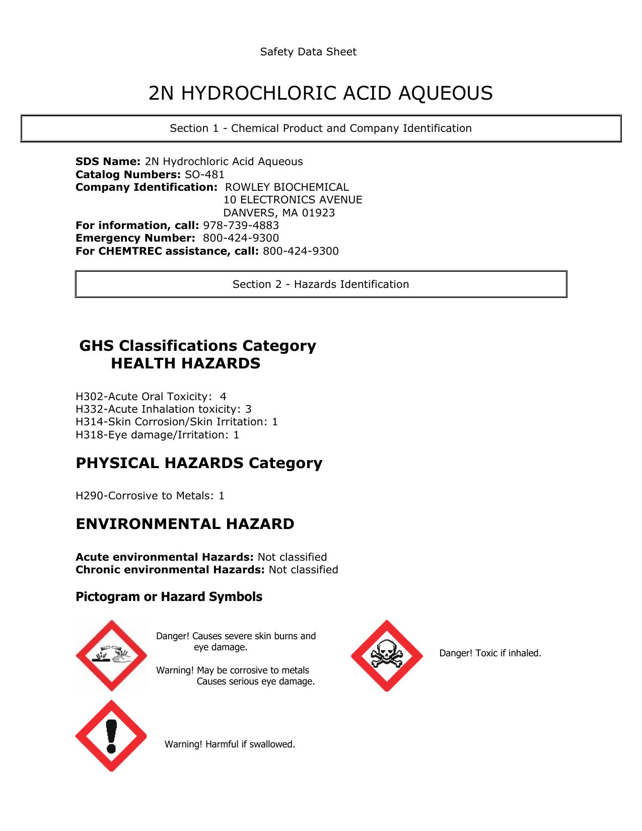 2n Hydrochloric Acid Aq So 481