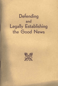 Defending And Legally Establishing The Good News (1950) [ file]