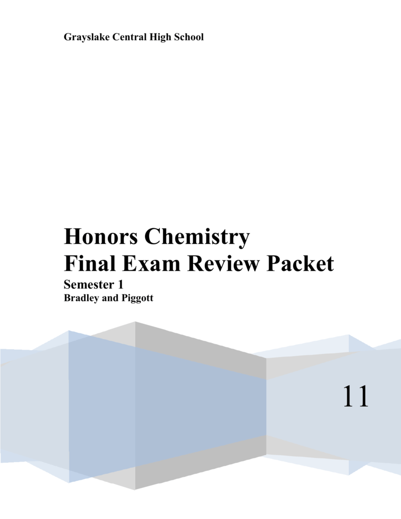 Honors Chemistry Final Exam Review Packet