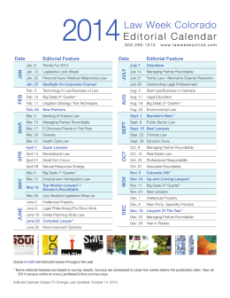 Law Week Colorado Editorial Calendar