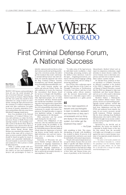 First Criminal Defense Forum, A National Success