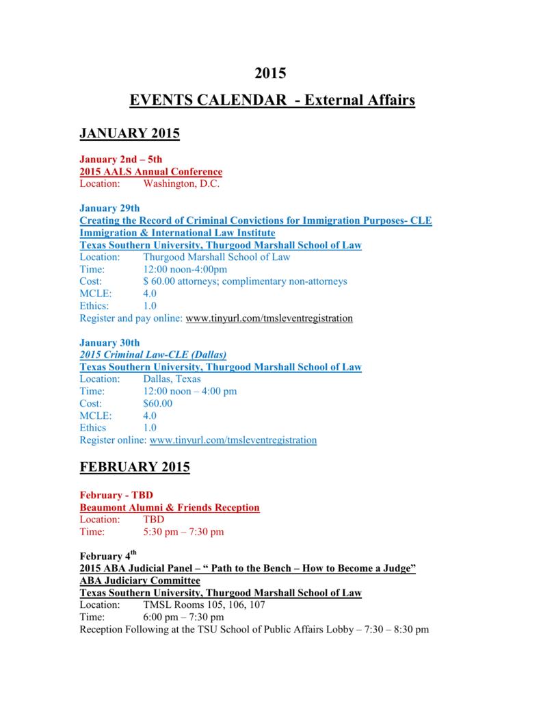 2015 EVENTS CALENDAR - Thurgood Marshall School of Law