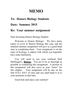 Honors Biology Summer Assignment 2015