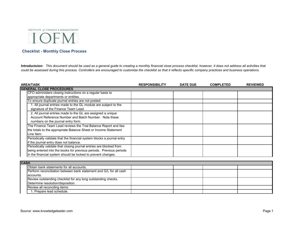 monthly closing checklist