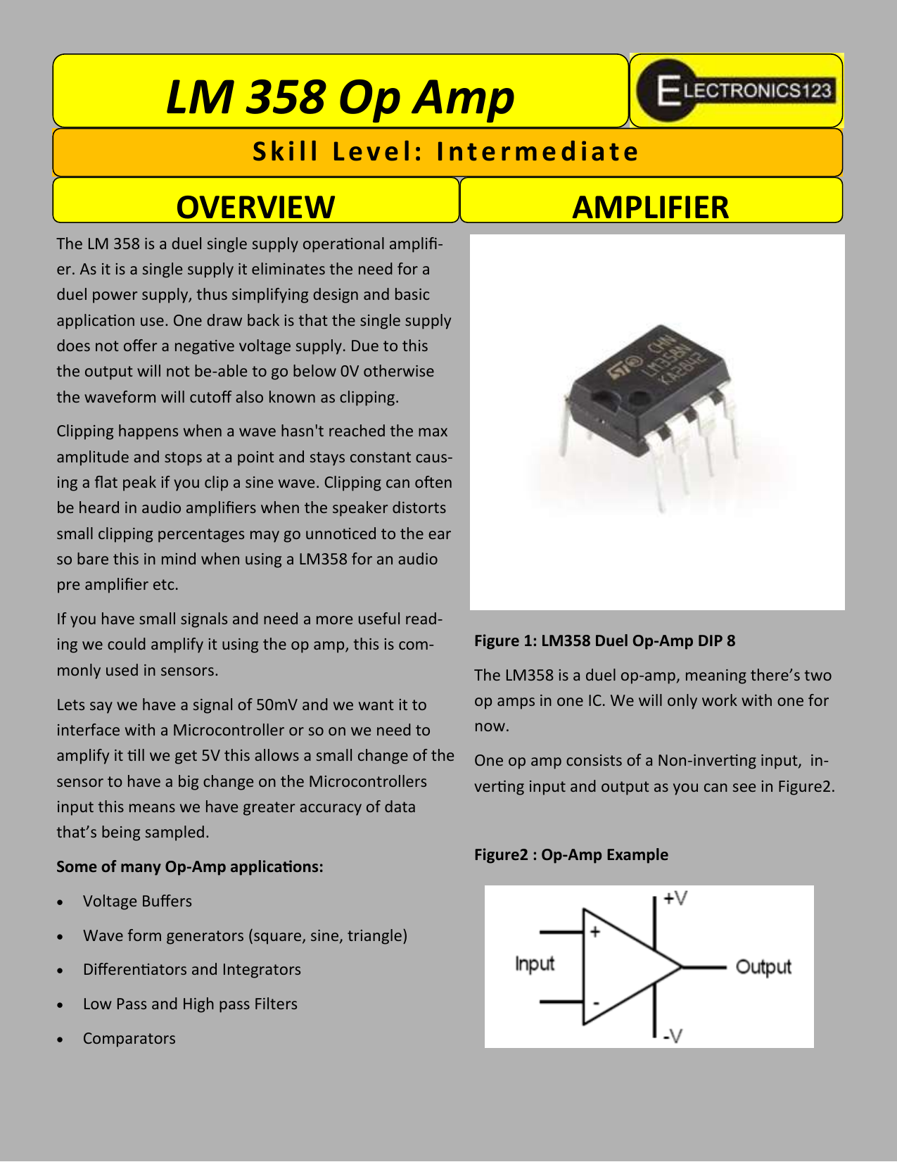 Lm 358 Op Amp Skill Level Single Chip Audio Preamplifier