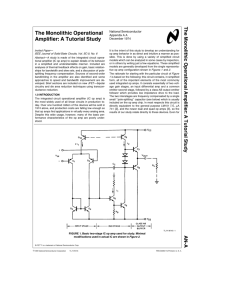 The Monolithic Operational Amplifier: A Tutorial Study