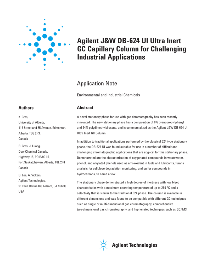 Agilent J&W DB-624 UI Ultra Inert GC Capillary Column for