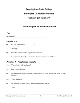 Principles of Microeconomics Problem Set 1 Worked Answers