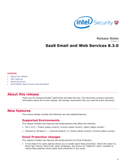 SaaS Email and Web Services 8.3.0 Release Notes