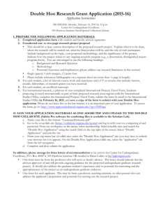 Double Hoo Research Grant Application (2015-16)