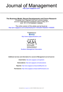 The Business Model: Recent Developments and Future Research