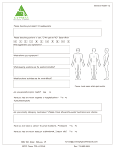 General Health Form - Cypress Physical Therapy McLean, VA