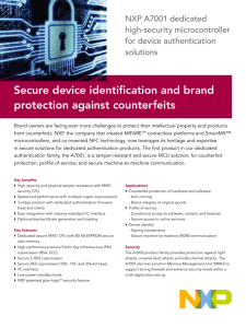 Secure device identification and brand protection against counterfeits