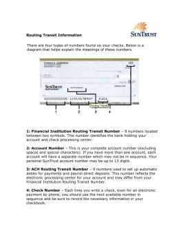 Routing Transit Information There are four types of numbers found