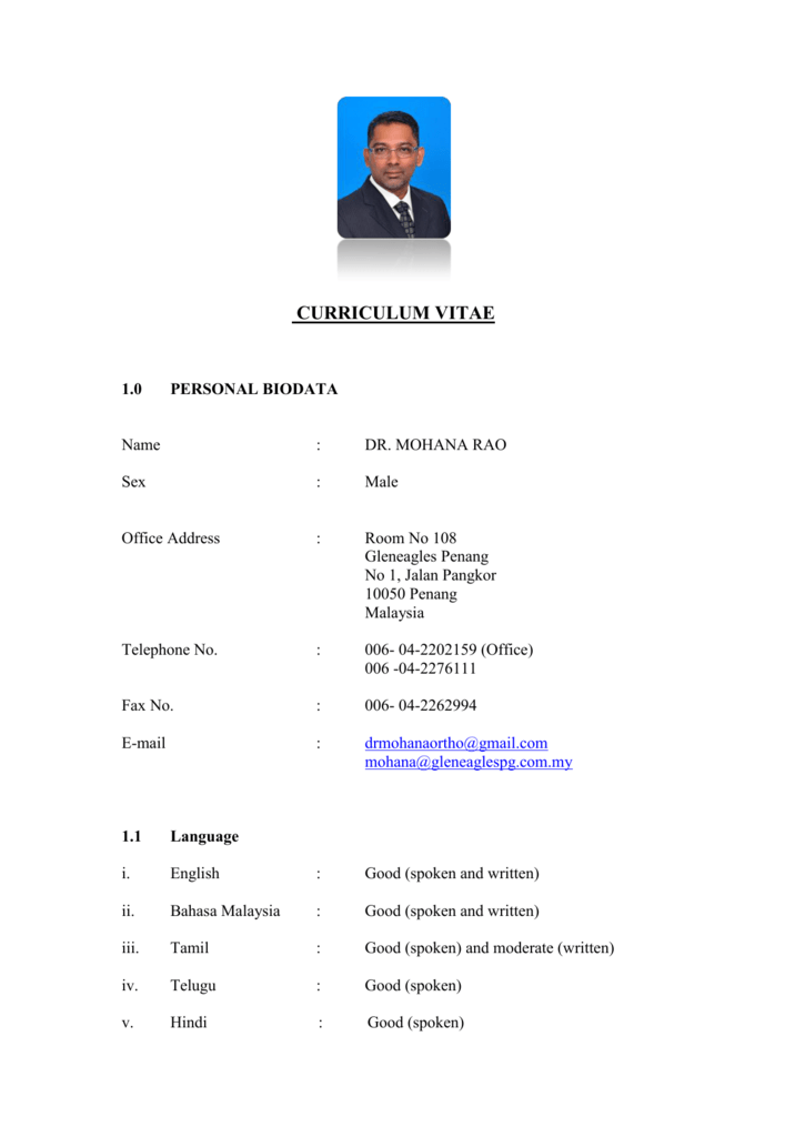 Curriculum Vitae Malaysian Arthroscopy Interest Group