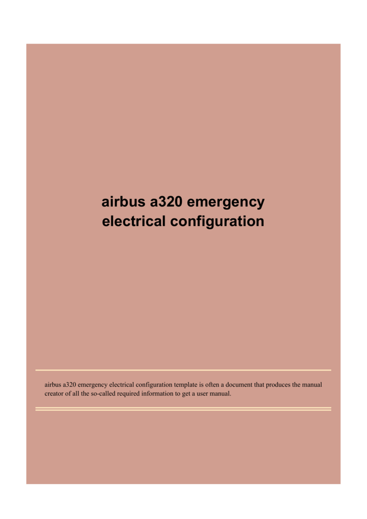 airbus a320 emergency electrical configuration on
