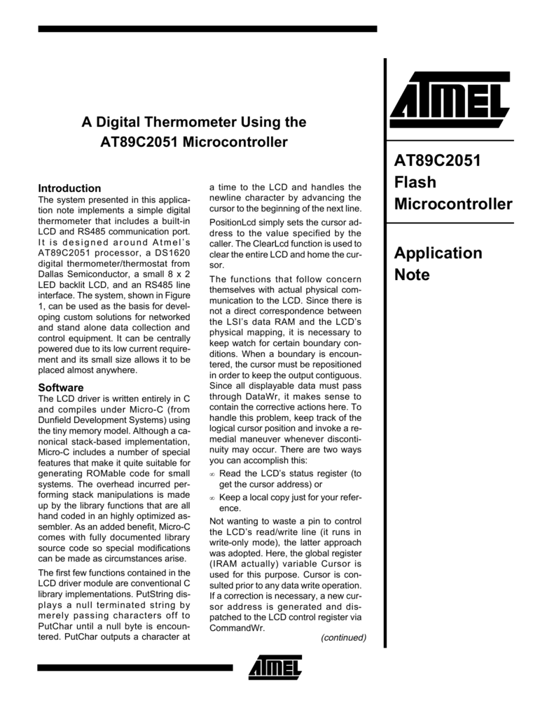 At89c2051 Flash Microcontroller Application Note Digital Thermometer Using 8051