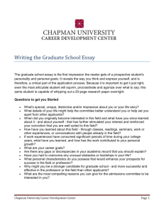 Writing the Graduate School Essay