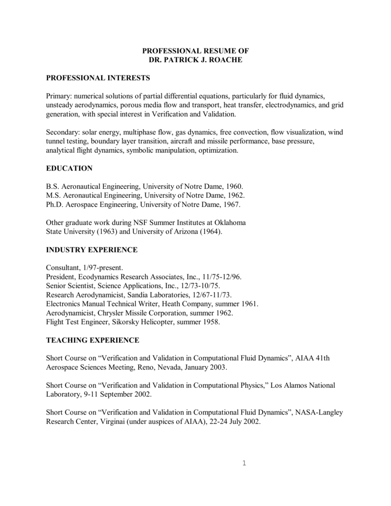 View Dr  Roache's resume in PDF Format