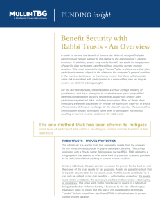 Benefit Security with Rabbi Trusts - An Overview