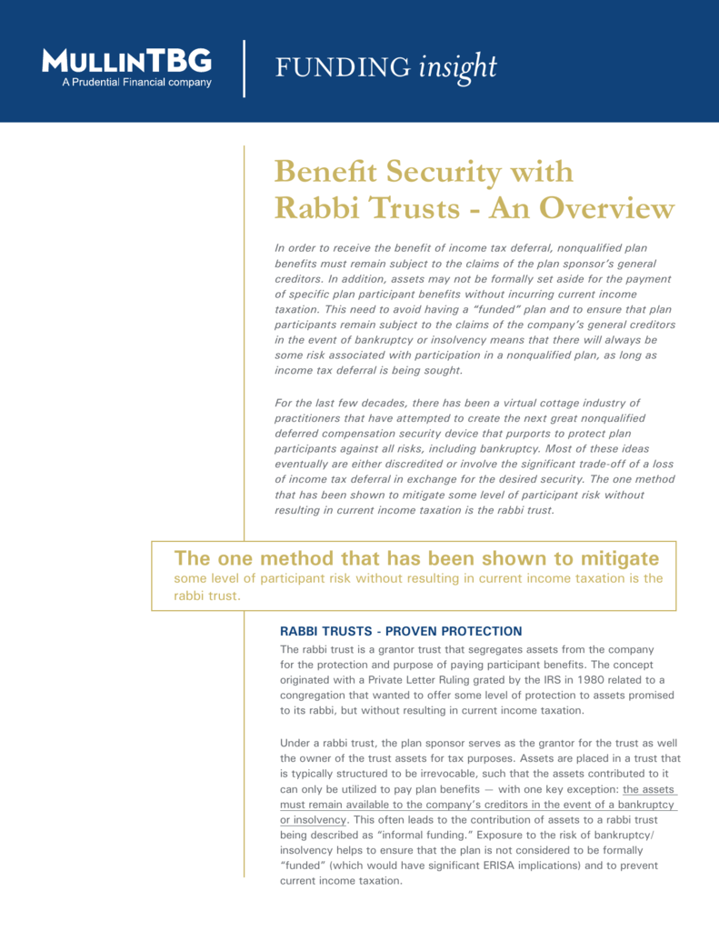 Benefit Security with Rabbi Trusts An Overview
