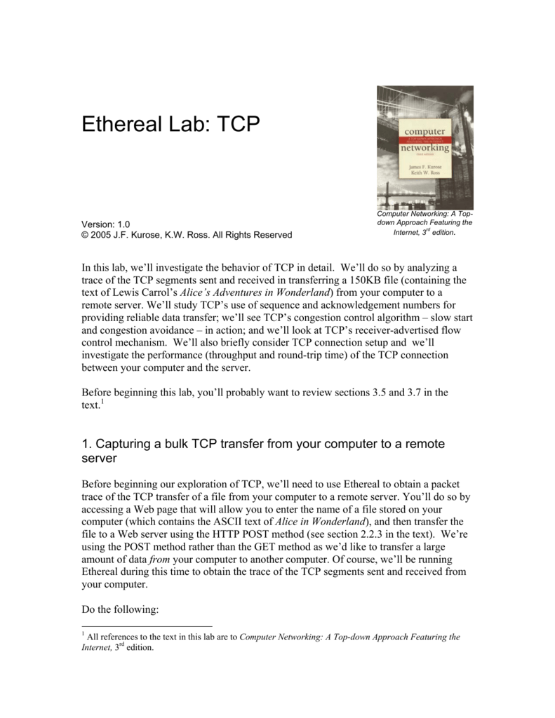 Ethereal Lab: TCP