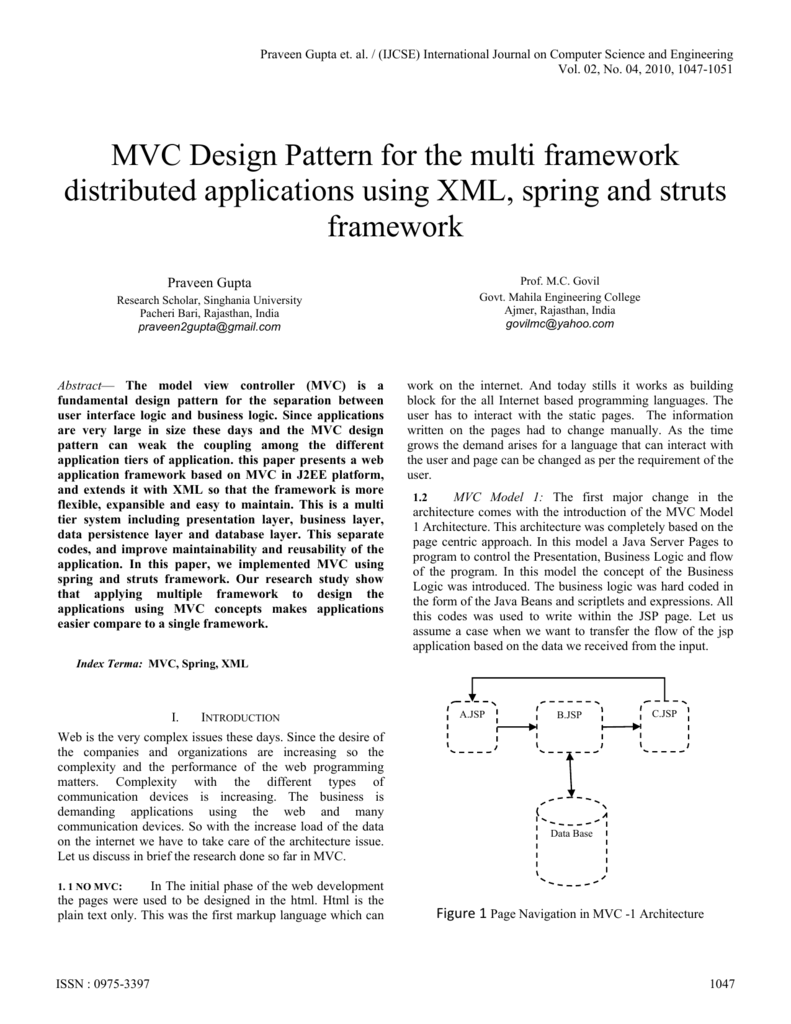 MVC Design Pattern for the multi framework distributed applications