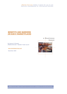 Benefits and barriers on B2B e-marketplaces