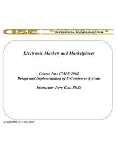 Electronic Markets and Marketplaces
