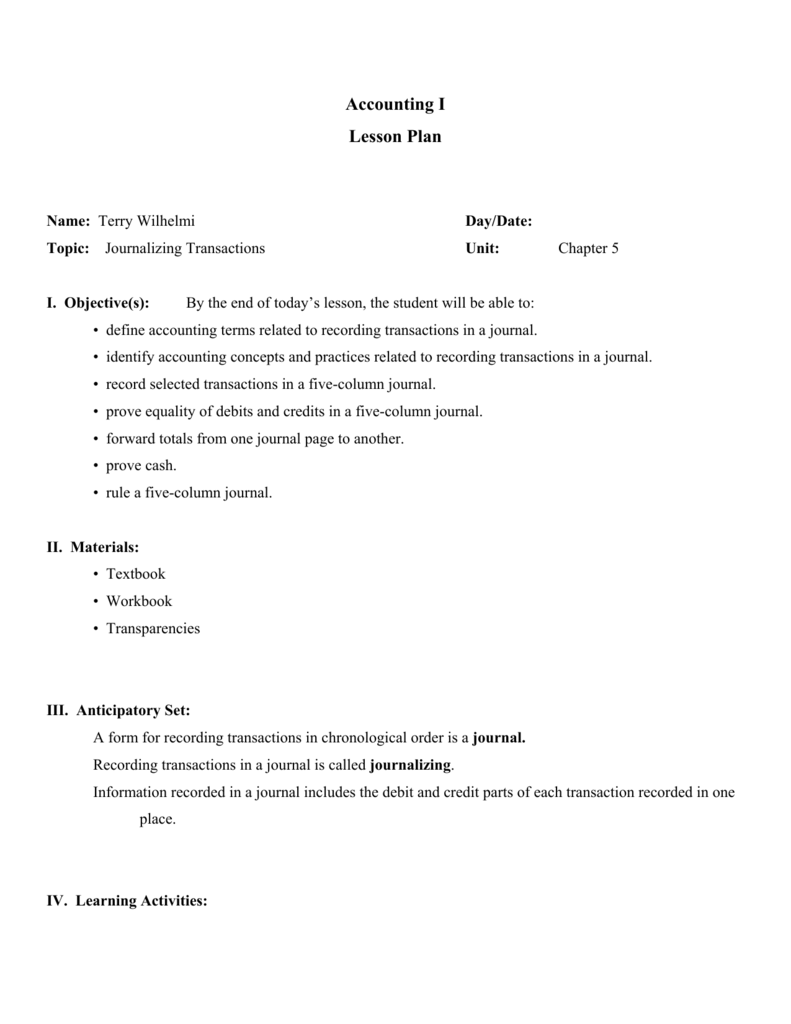 Accounting I Lesson Plan - Terry Wilhelmi's Home Page