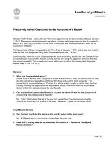 Frequently Asked Questions on the Accountant's Report