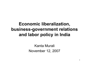 Economic liberalization, business-government relations and labor