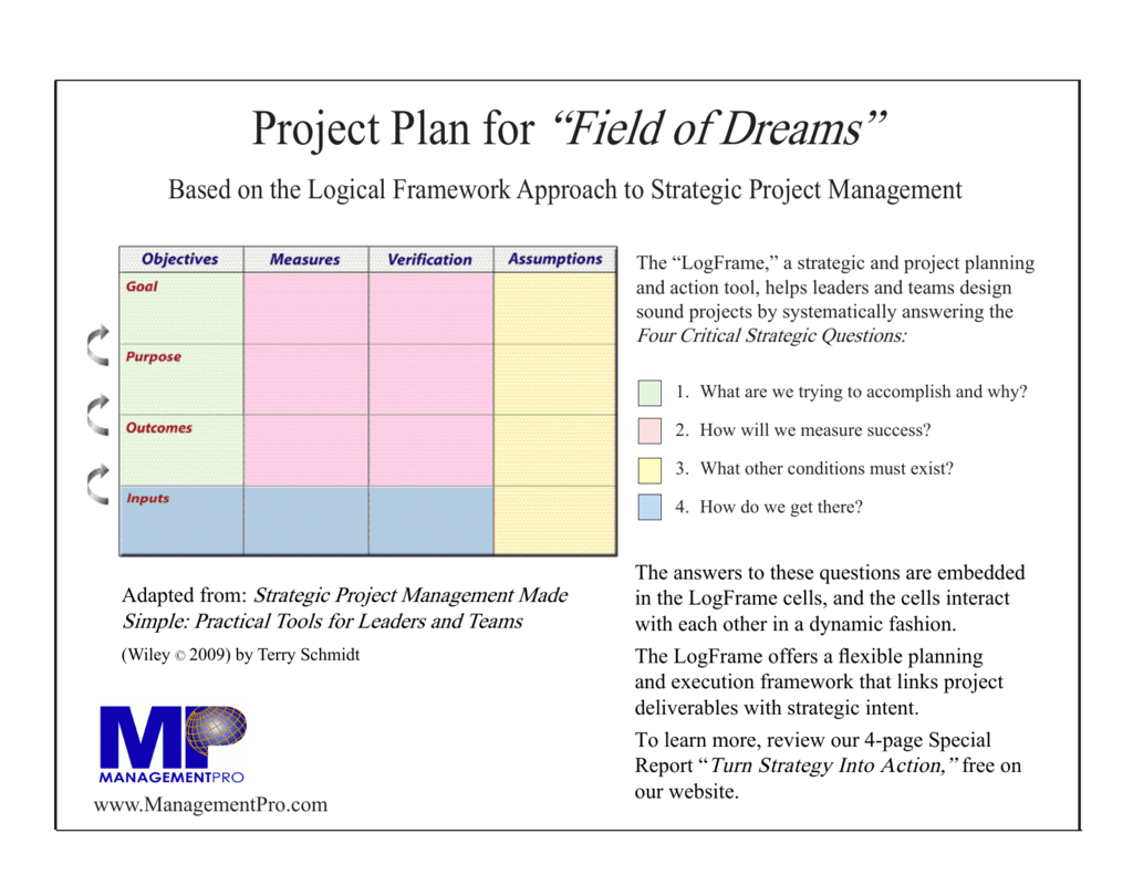 Project Plan For Field Of Dreams