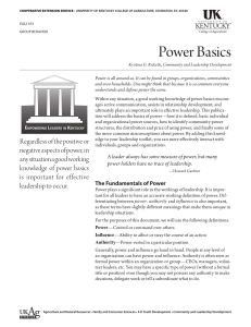 Power Basics - UK College of Agriculture