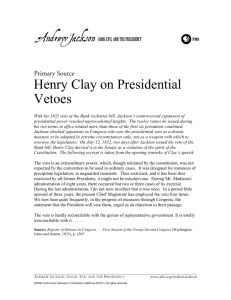 Henry Clay on Presidential Vetoes