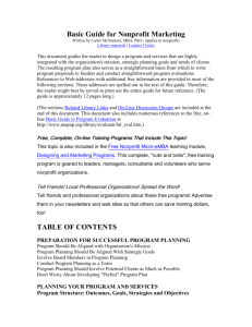 Basic Guide for Nonprofit Marketing TABLE OF CONTENTS