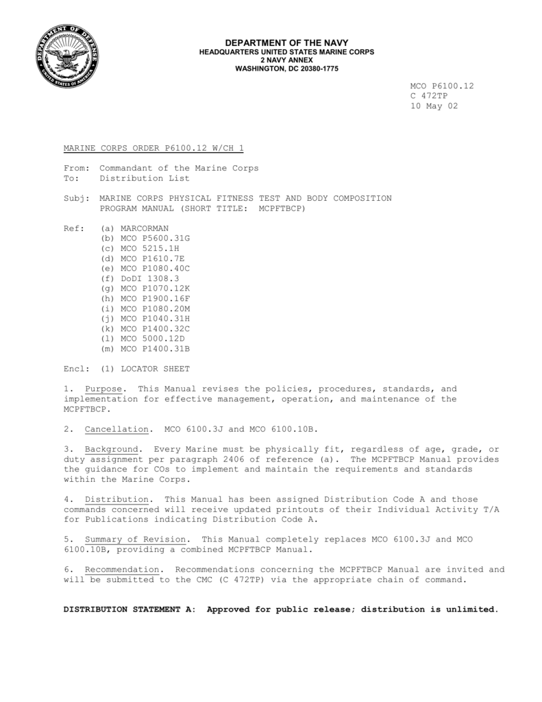 Marine Corps PFT Standards – Usmc Orm Worksheet