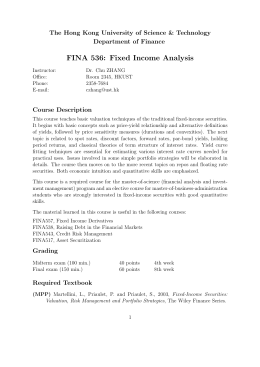 FINA 536: Fixed Income Analysis