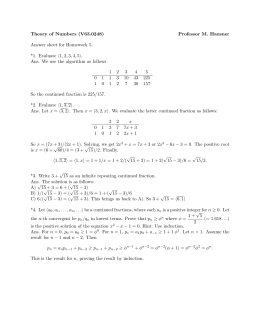 Theory of Numbers (V63.0248) Professor M. Hausner Answer sheet