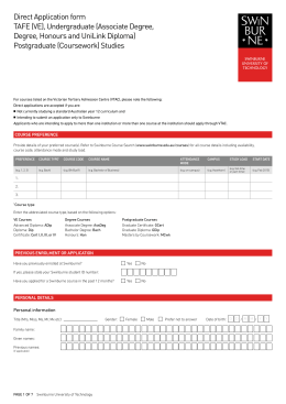 Direct Application form TAFE (VE)